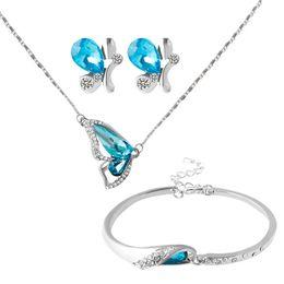 Wholesale Crystal Butterfly Bracelet Set - 2016 New Blue Butterfly Austrian crystal Jewelry Sets Necklace + Earring+Bracelet Crystal Set Fashion Jewelry