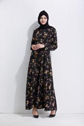 Wholesale New Islamic - 2017 Autumn New Women Long Sleeve Maxi Dress Floral Print Islamic Kaftan Caftan Long Abaya Dress