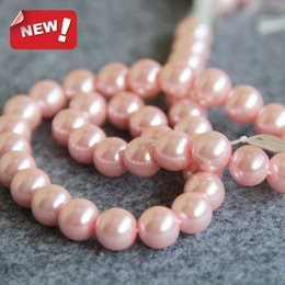 Wholesale Jewelry Made Seashells - New For Necklace&Bracelet Accessories 10mm Pink Shell pearl beads Seashell loose beads Jewelry making design 15inch Wholesale