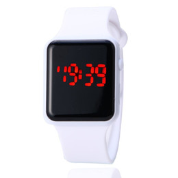 Wholesale Man Mirror Led Watch - 1000pcs Fashion Square Mirror Dial Digital LED Watch Women and Men LED Digital Touch Screen Colorful Silicone Men Wrist watch for GIFT Watch