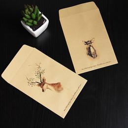 Wholesale Envelope Window - Wholesale-50pcs set Paper Envelopes Vintage Brown template cute Deer mini window wedding invitation envelope postcard gift envelope