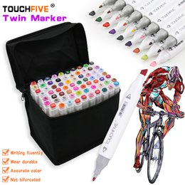 Wholesale Sketch Painting - TOUCHFIVE 168 Colors Artist Pen Double Headed Sketch Alcohol Designers Marker Pen 30 40 60 80 Pieces Set Paint Sketch Art Manga Marker