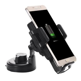 Wholesale Car Vent Cup Holders - Wholesale- car 360 Degree Rotatable Universal Car Cup Air Vent Mount Holder with Qi Wireless Charger for Samsung Galaxy S6  iPhone  HTC  S