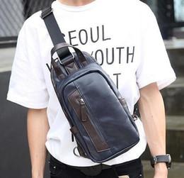 Wholesale Korean Brand Bags Sale - factory sales brand Korean male bag leather men chest pack outdoor stitching Leather Mens single shoulder bag Metrosexual essential man
