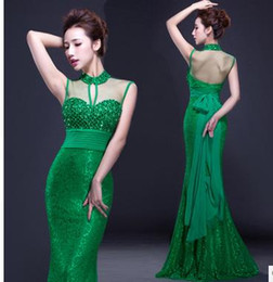 Wholesale Cocktail Length Feather Wedding Dress - High-end Fashion Elegant Green Hollow Mermaid Dresses Wedding Bridesmaid Bride Long High Collar Halter Evening Dress Beaded Bow Party Skirt