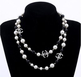 Wholesale Black Pearls Necklaces - New fashion white camellia pearl Necklaces Delicate Europen and America Loop long Sweater Chain bride pearl Necklace JKK18