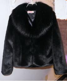 Wholesale Outerwear Woman Winter Fur Mink - Warm autumn and winter women fur coat black large fur collar long-sleeve mink hair design short outerwear plus sizes S-5XL