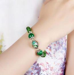 Wholesale Emerald Green Glass Plates - 2017 new winter party Gift Handmade bracelet glass ceramic bead fashion bracelet jewelry girl women nice