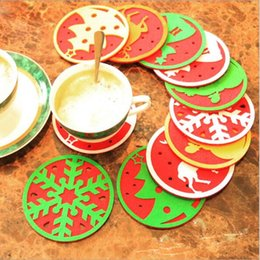 Wholesale Dinners Coaster - Wholesale- Christmas drink coasters placemats for table dinner coffee coaster water insulation pads Christmas Decoration supplies