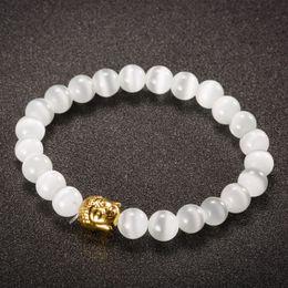 Wholesale Ethnic Fashion Jewelry China - Ethnic Buddha Beads Bracelets Fashion Natural Opal Stone Bracelet & Bangle for Women Charm yoga Jewelry Silver   Gold Plated