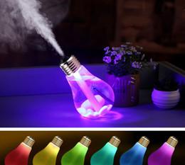 Wholesale Aroma Bulb - USB Ultrasonic Humidifier Home Office Mini Aroma Diffuser LED Night Light Aromatherapy Mist Maker Creative Bottle bulb LLFA
