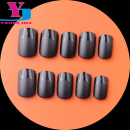 Wholesale Shorts French Nail Tips - Wholesale- New Fashion French Manicure Acrylic Fake Nail Tips Matte Short Full Cover High Quality UV Gel False Nail Art Tips Free With Glue