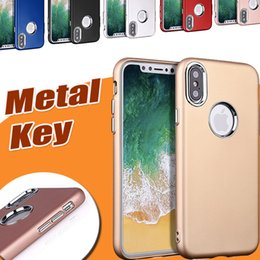 Wholesale Iphone Hybrid Case Matte - Electroplating Metal Key Hybrid Matte Frosted Slim TPU Hard Back Shockproof Cover Case For iPhone X 8 7 plus 6 6SSamsung Note 8 S8 S7 Edge
