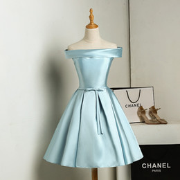 Wholesale Cheap Light Up T Shirts - Light Sky Blue,Gold,Fuchsia Bridesmaid Dress Satin Strapless Lace-up back Knee-length Bridesmaid Dresses Real Pictures Cheap