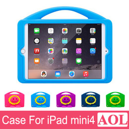 """Wholesale Tablet Apple Case Color Pink - DHL free Drop Resistance Kids Silicone Sunflower Cover Case for Apple iPad Mini 4 mini4 7.9"""" With Stand Shockproof Tablet PC Case"""