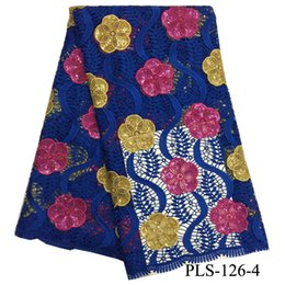 Wholesale Heavy Lace African Fabric Wholesale - 2017 latest two-tone guipure cord lace fabric squins african heavy lace fabrics water soluble laces fabrics for women PLS-126