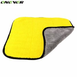 Wholesale Thick Microfiber Cleaning Cloths - Wholesale- 45cmx38cm Super Thick Plush Microfiber Car Cleaning Cloths Car Care Microfibre Wax Polishing Detailing Towels