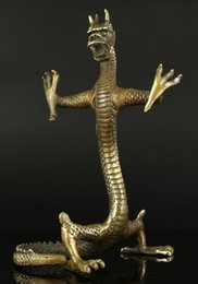 Wholesale Antique Brass Statue - Collectible Old Handwork Carving Bronze Fierce Standing Dragon Statue