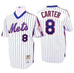 Wholesale Cheap Pinstripe Baseball Jerseys - New York Mets #8 Gary Carter Baseball Jerseys White Pinstripe Blue Green Throwback Cheap From China Top Quality