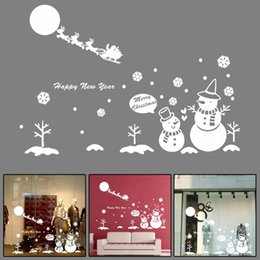 Wholesale Wholesale Paper Snowflake Decorations - 2016 Wall Window Stickers Angel Snowflake Merry Christmas Xmas Vinyl Art Decoration Decals