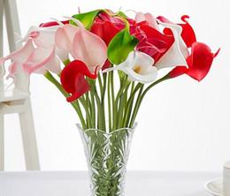 Wholesale Display Felt - Free shipping 34 cm high-grade flower simulation PU feel Calla flower mini European decorative flowers LLFA