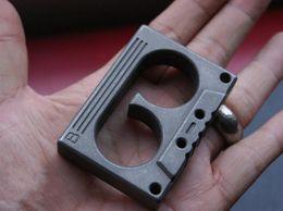 Wholesale Finger Hole - Titanium TC4 EDC Cassette Double Finger Knuckle Duster Emergency Hammer Stone washed 24mm Hole diameter Surface 95g