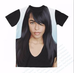 Wholesale Sublimation Sleeve - 2017 hot sale New fashion Womens Mens Aaliyah Funny 3D Sublimation print casual short sleeve T-shirts XTXP53