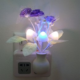 Wholesale Electric Light Sockets - Socket Electric Induction Wall Lamp Small Night Light Flowers And Plants Decorative Light Colorful Snow Cloves Mushroom LED Night Light