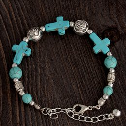Wholesale Bead Stone Bracelet Bangle - Wholesale-Gypsy Tibetan Silver TURQUOISE Stone Cross Beads Handmade Vintage Bracelet Bangle Jewelry Cross Bracelet for Women Jewellery