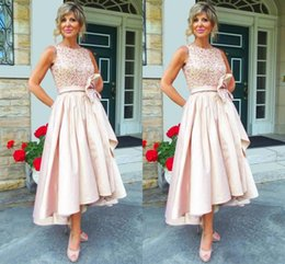 Wholesale Taffeta Tea Length Wedding Dresses - 2017 Vintage Mother of the bride Dresses Jewel Neck Crystal Beaded High Low Length Pink Taffeta Plus Size Wedding Guest Dress Mother Dress