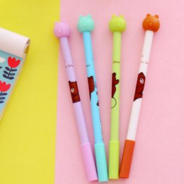 Wholesale Erasers Note - 20pcs lot Cartoon Bear Shape Gel Ink Pen Easily eliminate With Eraser 0.38mm Carbon Student Signature Pen Creative Free Shipping Stationery