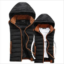 Wholesale High Fashion Vest Men - Wholesale- New 2016 Winter Casual Thick Vest Men High Quality Hooded Four Colors Chaleco Con Capucha Slim Cotton-padded Lovers' Waistcoat