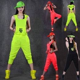 Wholesale Dance Costume Overalls - Wholesale- Hip Hop Dance Costume performance wear women romper European playsuit loose overalls harem jazz jumpsuit one piece Pants