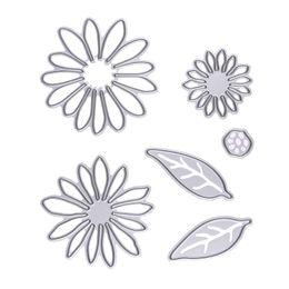Wholesale Flower Die Cuts - 6 Pcs Flowers& Leaves Metal Cutting Dies Scrapbooking Dies Stencil Photo Album Decorative Embossing Craft Paper Card Template