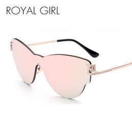 Wholesale Leg Panel - ROYAL GIRL 2017 New Women Integrated Cat Eye Sunglasses Brand Designer Classic Shades Flat Panel Lens Individuality Leg SS934