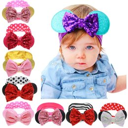 Wholesale Sequined Hair Bows - Baby stripe Dot headband kids Sequined bow rabbit ear Hair band Infant Round ears Elastic head rope C1669