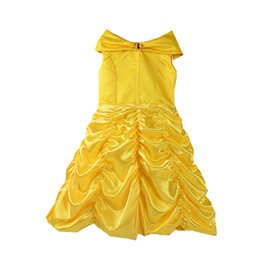 Wholesale Taffeta Girl Dresses - Children Girls Belle Princess Dresses Beauty And The Beast Inspired Costume Tutu Dress With Bow Party XMAS Halloween Clothing PX-A30