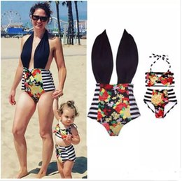 Wholesale Kids Fashion Swimsuit - New Family Matching Outfits Mother And Daughter Summer Swimsuit Kids Parent Striped Swimwear Baby Girls Clothes