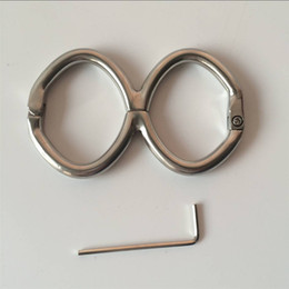 Wholesale Oval Steel Handcuffs - 2017 Latest Male Female Stainless Steel Gourd Shape Fixed Oval Wrist Restraint Handcuffs Shackles Bondage Manacle Adult BDSM Product Sex Toy