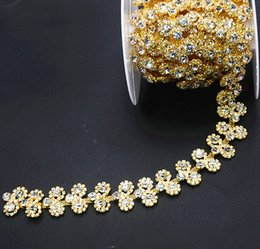 Wholesale Glasses Sunshine - New design!double flower crystal rhinestone Gold Luxury Costume chain Applique sunshine beads Trims 1Yd lot
