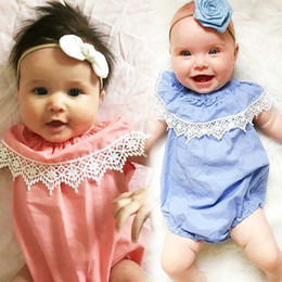 Wholesale Cute Foreign Baby Girl - Cute Baby Girls Lace Wide Collar Rompers Euro Foreign Trade 2017 Baby Summer Boutique Clothing Infant Girls Ruffle Rompers