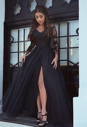 Wholesale Cheap Fishtail Gowns - Long Sleeves Black Formal Dresses Evening Wear Sheer Neck Appliques Side Split Arabic Dubai Fishtail Occasion Prom Party Gowns Cheap Custom