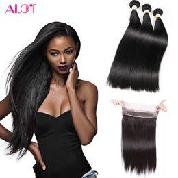 Wholesale Mongolian Remy Lace Frontal - 8A Grade Peruvian Virgin Hair Bundles Straight Hair 360 Lace Frontal with Bundles 3Pcs 100% Unprocessed Remy Human Hair Bundles
