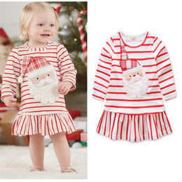 Wholesale Girls Red Wool Dress - Ins Striped Christmas dress girl A skirt, kid red children cotton lotus leaf edge wt1709