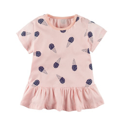 Wholesale Girls Flower Tshirts - Girls Tshirts Baby Round collar Short Sleeve Crew Neck Summer Cotton Top wholesale Kids Tshirt costume clothing T-shirt