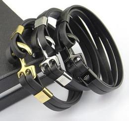 Wholesale Anchor Hook Bracelet - Titanium steel jewelry wholesale R men's clothing anchor leather belt bracelet 18K gold hook button leather men's fashion bracelet