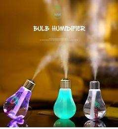 Wholesale Cool Mist Ultrasonic Impeller Humidifier - USB Ultrasonic Humidifier Home Office Mini Aroma Diffuser LED Night Light Aromatherapy Mist Maker Creative Bottle bulb