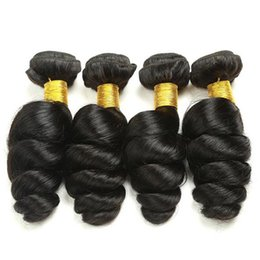 Wholesale Black Aunty - Large stock virgin malaysian black hair bouncy curls 3pcs aunty funmi hair weft for nigeria no tangle