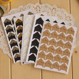 Wholesale Paper Sticker Album - 24 Pcs lot DIY Vintage Corner kraft Paper Stickers for Photo Albums Frame Decoration Scrapbooking Free shipping