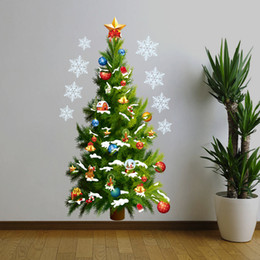 Wholesale Pvc For Christmas Trees - New Fashion Christmas Tree Shape Star Wall Stickers Removable Christmas day Home Party Decoration free shipping
